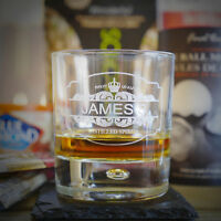 Personalized Whiskey Glasses And Slate Coaster - Pair.