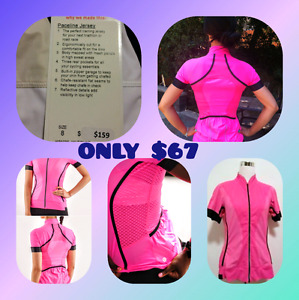 BNWOT LADIES LULULEMON SIZE 8 HOT PINK CYCLING PACELINE JERSEY