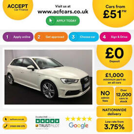 White AUDI A3 SALOON 1.4 1.6 1.8 2.0 TDI Diesel S LINE S-T FROM £51 PER WEEK!