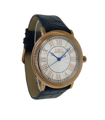 Invicta Specialty 14859 Men's Round Roman Numeral Rose Gold Tone Leather - Mens Gold Round Leather Watch