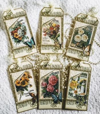 Vintage Seed Packet~Shabby~6 Hang Tags~Scrapbooking~Cards~#125~judysjemscrafts