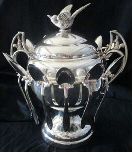 Vintage Silver Plate Sugar/Caviar Bowl With 12 Hanging Spoons Stratford Kitchener Area image 2