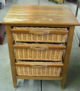 Stand with 3 Wicker Basket Drawers