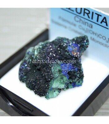 Azurita cristalizada con malaquita de China en estuche protector