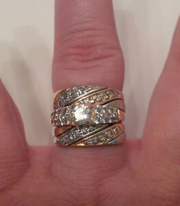 Two Tone Gold Engagement Ring & 2 Band Puzzle Ring Set $1100 OBO