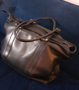 LL Bean black leather computer bag/purse