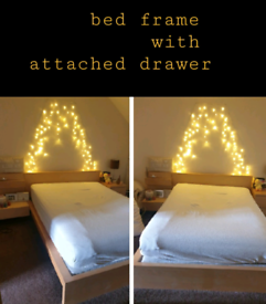 Ikea bed frame with attached drawer