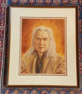 Original Chalk Drawing of Chief Dan George