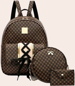 3 piece Brown Backpack Set £29 + postage