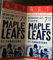 Leafs vs Montreal Canadiens Tickets @ cost - Wed Oct 7 Sec 115
