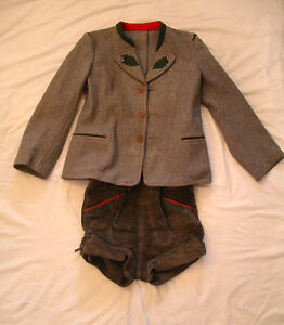 Vintage Leather LEDERHOSEN Suspender Shorts & Wool/felt Jacket