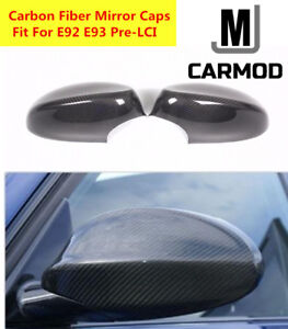 Fit For BMW E92 Pre-LCI 330i 335i 06-08 2pcs Carbon Fiber Door Mirror Cover Caps
