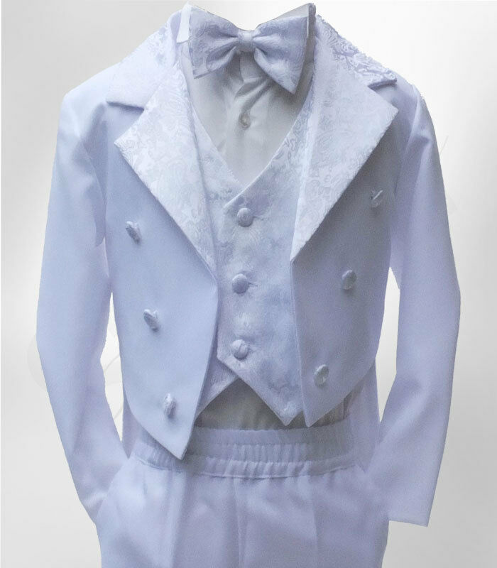 Baby Boys 5 Piece Tuxedo Style Tailcoat Suit Page Boy Christening Baptism Outfit