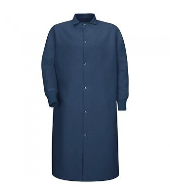 Navy Blue lab coat gown with cuffs, Gripper-Front (Front Lab Coat)