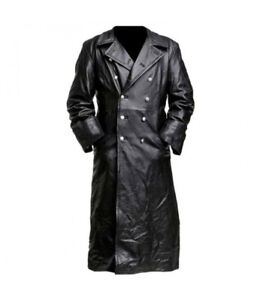 Officer Military German Classic Leather Trench Coat