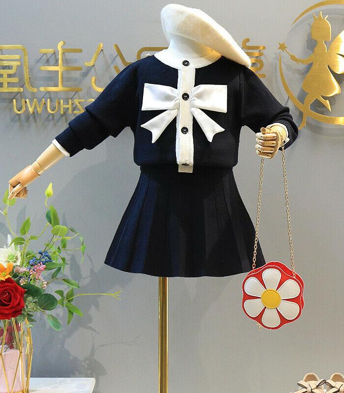 Toddler Girls Warm Dress Autumn Winter Kids Knitted Clothes Infant Tops+Skirt