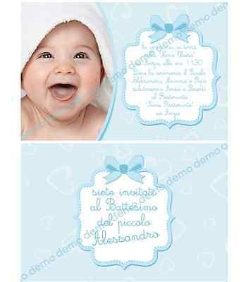Biglietti - Inviti Battesimo personalizzati BIMBO - BAMBINO