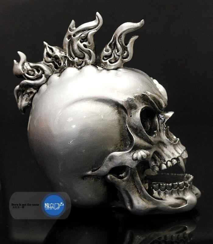Retro Resin Statue Demon Punk Skull Figurine Halloween