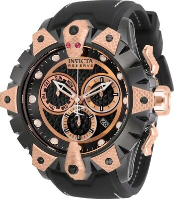 Invicta Reserve Mens 52mm Venom Viper Swiss Rose-Gold Dial Silicone Strap Watch