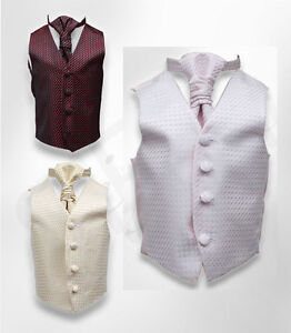 UK-BOYS-WEDDING-PROM-WAISTCOAT-CRAVAT-HANDKERCHIEF-SET-AGE-6M-TO-16Y