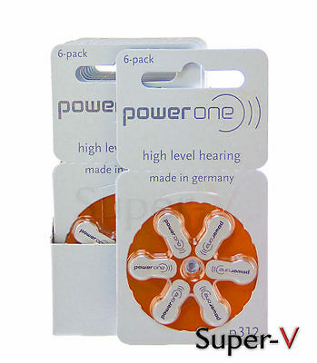 Powerone Hearing Aid Batteries Pr41  P312  Size 312  60 Batteries