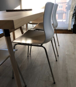 4 chaises à manger ikea blanches midcentury moderne