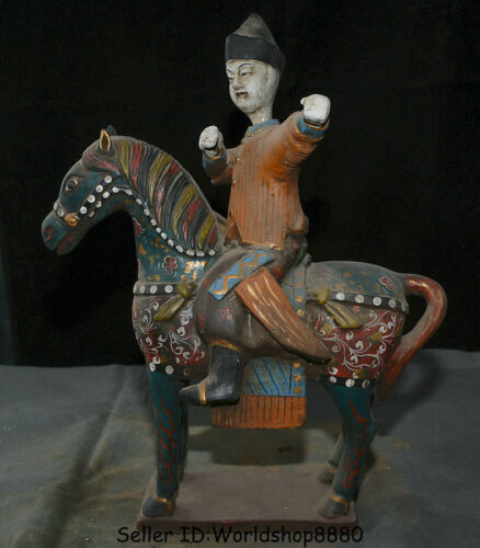 """16.4"""" Old China Antique Tang San Cai Pottery Painted warrior Ride Horse Statue"""