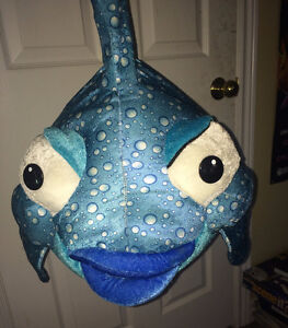 "Large 22"" x 32"" Stuffed Plush Blue Gold Fish Toy"