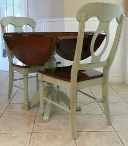 Solid Hardwood Round Drop Side Table and Chairs
