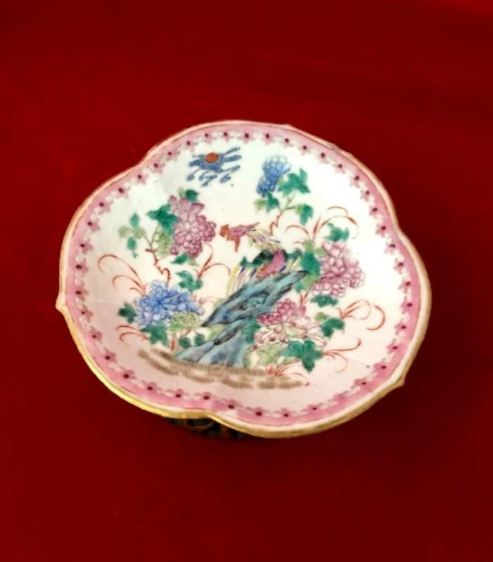 Qing 19th Century Nyonya Ware Lobed Dish