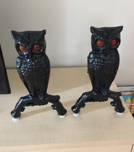 Antique cast iron owls with adiron and amber glass eyes