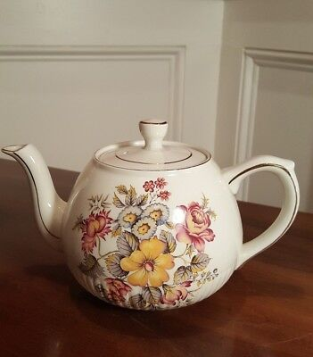 IRONSTONE TEAPOT ELLGREAVE WOOD & SONS ENGLAND FLORAL BOUQUETS ON WHITE