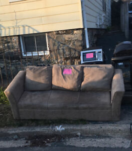 FREE COUCH, CHAIR W STOOL, LAMP, BBQ, MICROWAVE