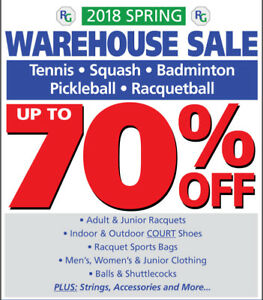 Tennis, Badminton, Squash - WAREHOUSE SALE in New Location