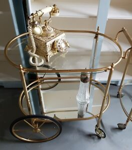 Rare & Hard to Find Mid Century Vintage Gold Plated Bar Cart MCM