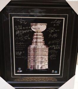 Stanley Cup Trophy 16x20 Signed & Framed.  Lemieux, Orr, Kane