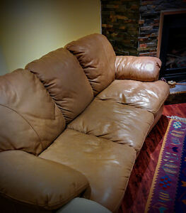 Leather sofa beige brown three seat couch Cambridge Kitchener Area image 1