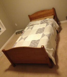 Ikea kids adjustable bed (Solid wood and mattress)