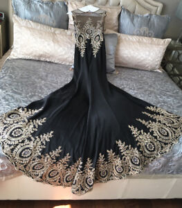 Tony Bowls Long Black and Gold Gown with Lace Detail and Train