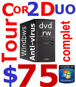 tower C2D 3ghz 4gb 250gb DVDRW hdmi WIN7  79$