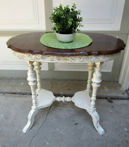 TODAY ANTIQUE SHABBY CHIC TABLE:  UNIQUE WOOD GRAIN PATTN. TOP -