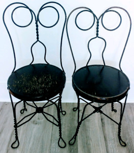2 Early 20th C. ICE CREAM Parlour Chairs Antique Vintage