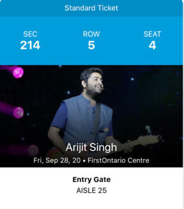 Arijit singh show at Firt Ontario Centre. TKT available