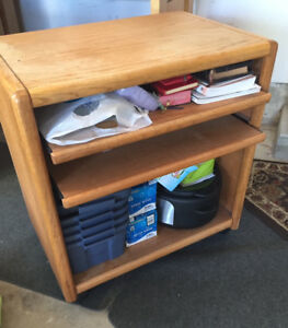 Microwave Table - Solid Oak