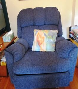BLUE RECLINER, BOOKCASE , HOOP CHAIR AND CUPBOARDS FOR SALE