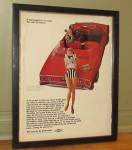 FRAMED 1966 CORVAIR MONZA CONVERTIBLE VINTAGE AD - RETRO ANONCE