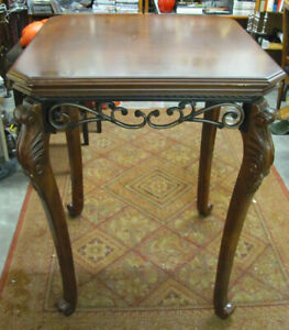 "DECORATIVE PUB TABLE WITH METAL ACCENTS 32"" x 42""h"