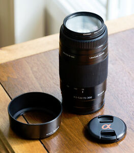 Sony 75-300mm telephoto zoom lens for Sony Alpha a-mount SLR's