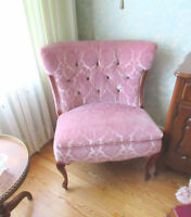 Antique Wood Chair - Upholstered Velvet Material City of Montréal Greater Montréal Preview