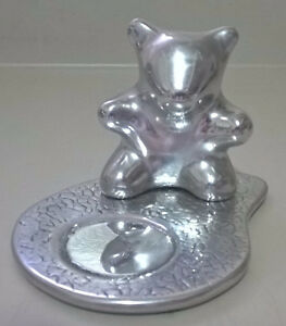 Vintage Hoselton Aluminum Sculpture Bear Tealight Candle Holder
